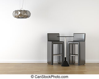 interior design black stools on white
