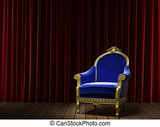 blue classic armchair on red curtain