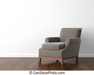 interior design brown armchair on white - interior design of...