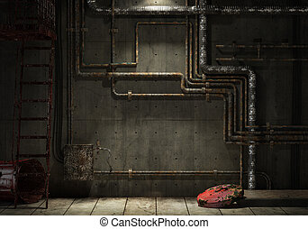 grunge industrial pipe wall - grunge interior room of an...