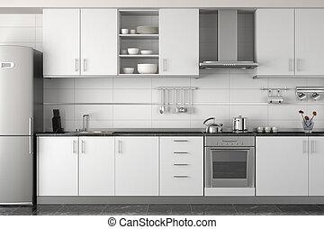 wewnętrzny, projektować, nowoczesny, biały, kuchnia