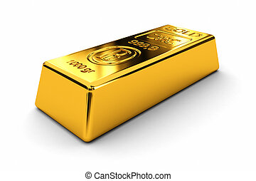 Gold bar - gold bar over white background