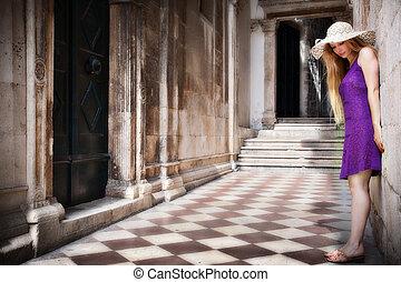 建物, 女, 古代, 若い,  sensual