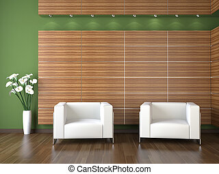 interior design of modern waiting room with wood cladding on...