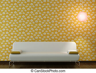interior design of white couch on flowery wallpaper