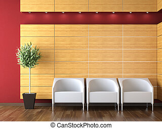 interior design of modern reception with three armchairs on...