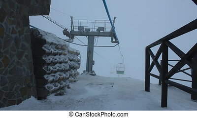 Ski lift timelapse in Carpathians, Ukraine - Ski lift time...
