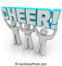 Cheerleading Squad in Rally - Lifting Word Cheer - A team of...