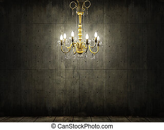 chandelier in dark grungy concrete room - interior scene of...