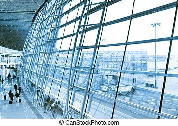beijin airport - scene of the beijin ariport, interior of...