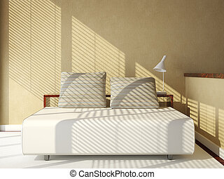 sofa-bed on tan wall - interior 3d scene of sofa-bed on tan...