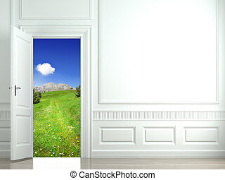 white wall with open door - wall with an open door to a...