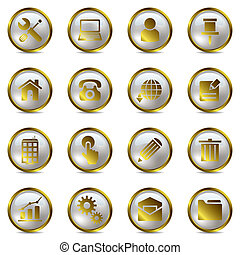 Gold icons set - Illustration vector