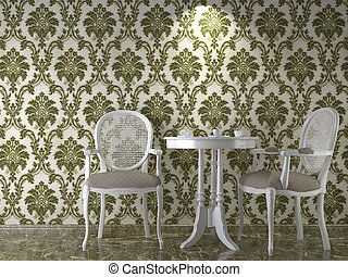 classical wallpaper interior - interior design with cassical...