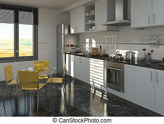 kitchen interior design - Interior of a modern designed...