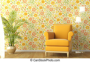 interior with armchair and flowery wallpaper - 3d scene of...