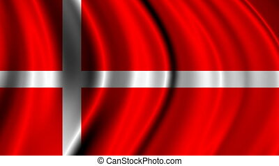 Denmark Flag Motion - National flag of Denmark stop motion