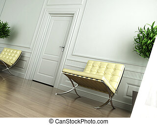 classic white interior tilted - Classic white interior with...