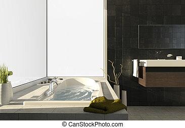 Bathtub with views 2 - Modern bathtub with big window...