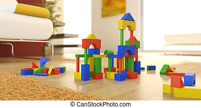 construction set in modern interior - colorfull block...