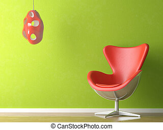 Green and red interior - 3D renders of a modern red leather...
