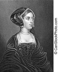 Anne Bullen (1501/1507-1536) on engraving from 1837. Queen...