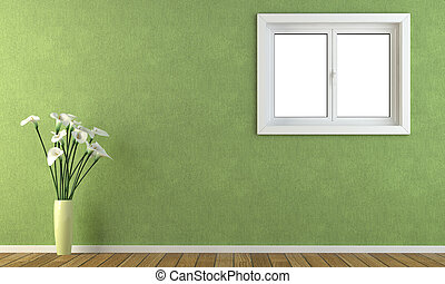 green wall with a window - Interior green wall with calla...