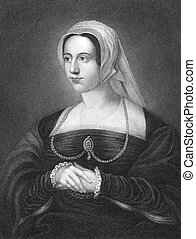 Catherine Parr 1512-1548 on engraving from 1840 Queen...