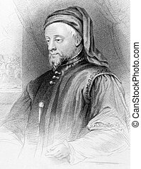 Geoffrey Chaucer (1343-1400) on engraving from 1838. English...