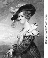 Georgiana Dowager, Lady Dover on engraving from 1840...