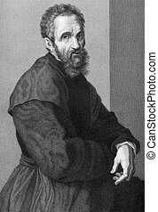 Michelangelo (1475-1564) on copper engraving from 1841....