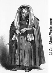 Jewish rabbi dressed for prayers on engraving from 1858....
