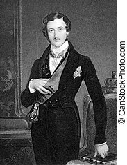 Prince Albert (1819-1861) on engraving from 1849. Husband of...