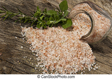 Himalayan salt - himalyan salt with spices on white...