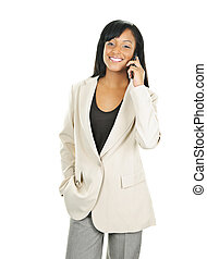 Smiling black businesswoman on phone