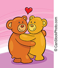 Teddy bears in love - Cartoon illustration of two teddy...