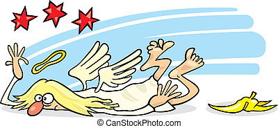 Fallen angel - Cartoon illustration of angel which fall on...