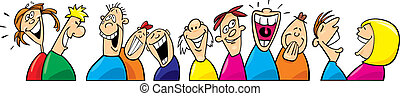 Laughing people - Cartoon illustration of laughing people