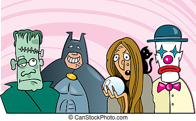 halloween fancy dress ball - cartoon illustration of people...