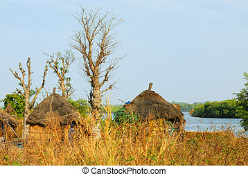 African tribal hut, traditional african village, Senegal