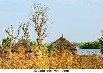 africano, tribal, cabana