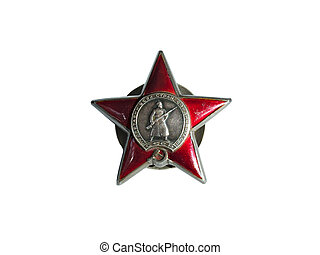 Order of a Red Star Soviet Union in World War II isolated on white