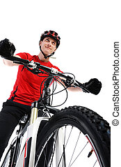 portrait of a cyclist Isolated on a white background