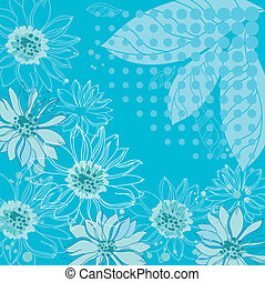 turquoise flowers background - illustration of a turquoise...