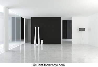 interior design modern B&W space