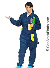 Cleaning worker welcome hand gesture - Cleaning worker woman...