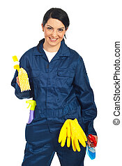 Worker prepared for cleaning houses - Cheerful worker woman...