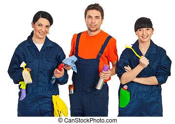 equipo, limpieza, trabajadores
