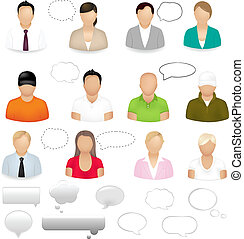 Icons Of People - 12 People Icons With Dialog Bubbles,...
