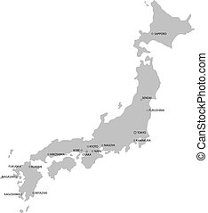 Japan Map, Isolated On White Background, Vector Illustration